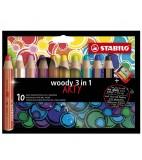 Stabilo Woody 3 in 1 ARTY mit Spitzer 10 Stück